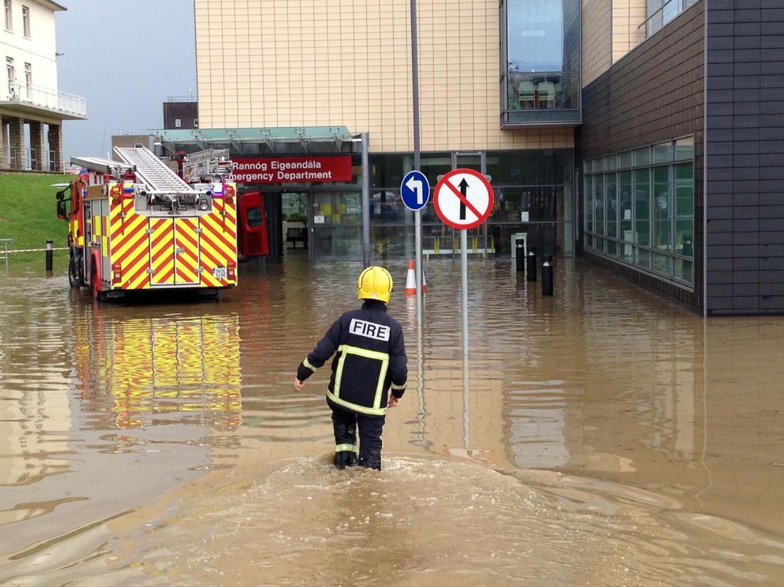 The new Accident and Emergency department of Letterkenny General Hospital surrounded by water on Friday evening.