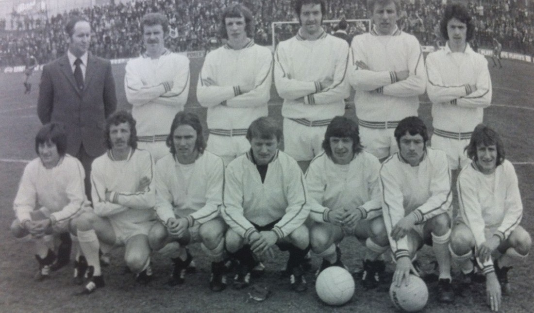 The Finn Harps team and their manager Patsy McGowan before the 1974 FAI Cup final.