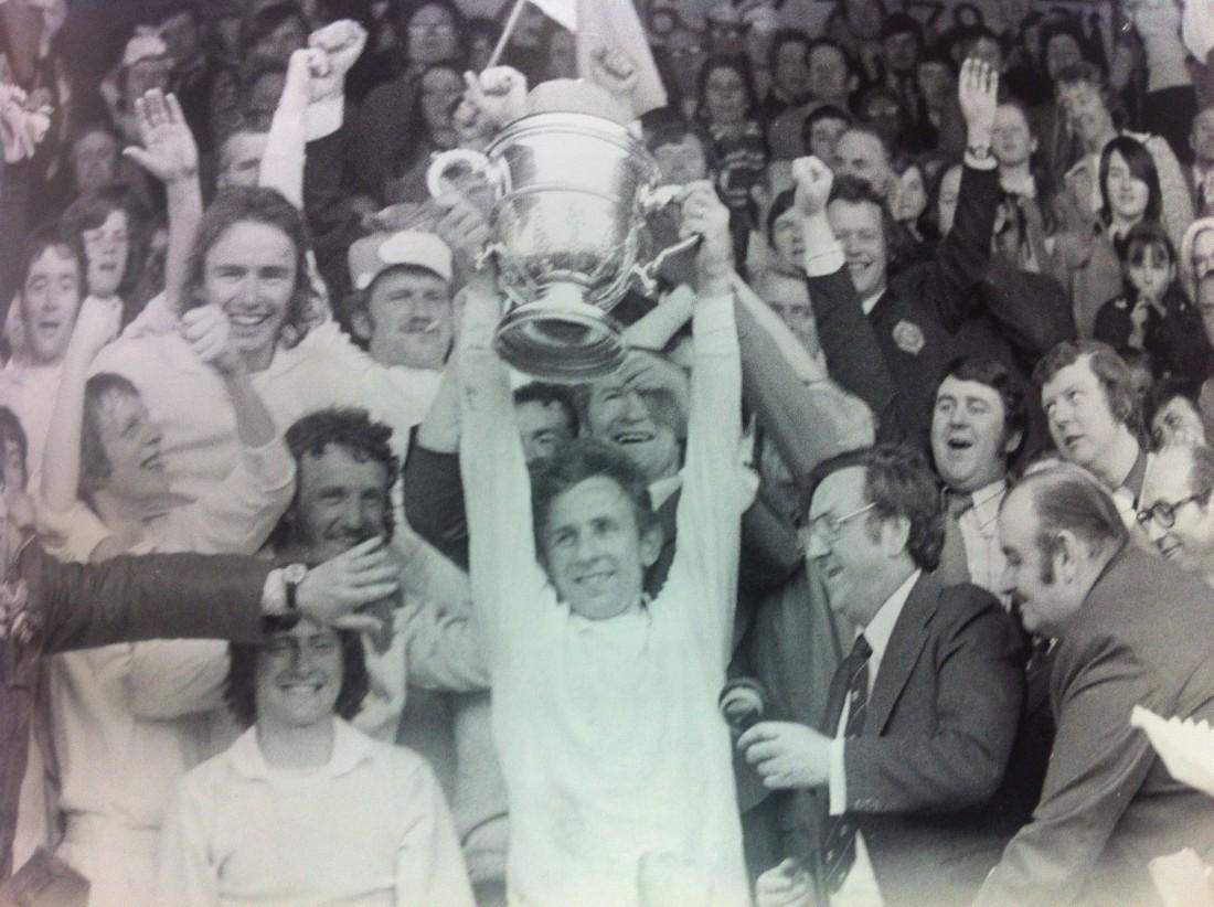 Finn Harps captain Jim Sheridan lifts the FAI Cup in 1974.