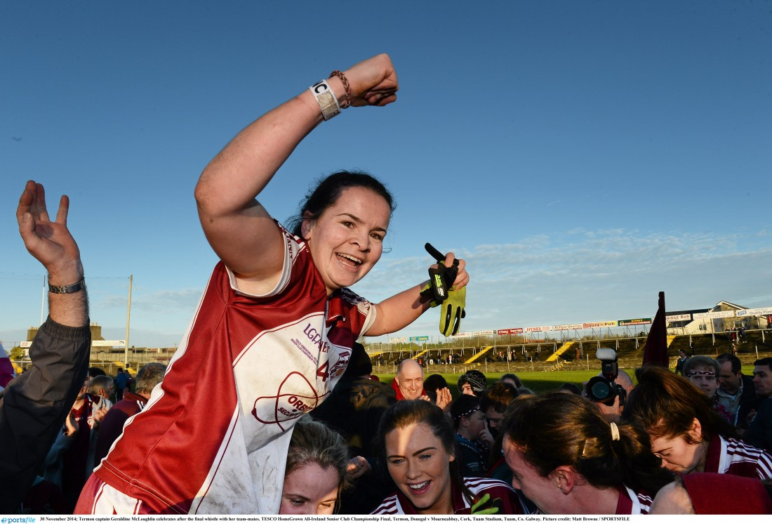 Termon captain Geraldine McLaughlin celebrates after the final whistle with her team-mates